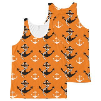 Camiseta De Tirantes Con Estampado Integral Negro náutico del naranja de la playa del modelo