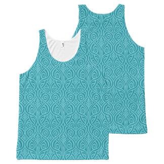 Camiseta De Tirantes Con Estampado Integral nouveau del arte, trullo, verde, art déco,
