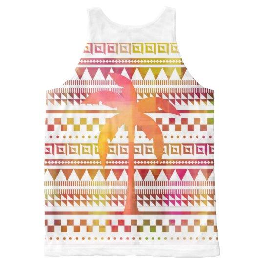 Camiseta De Tirantes Con Estampado Integral Palma sobre modelos