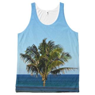 Camiseta De Tirantes Con Estampado Integral Palmera sobre el océano