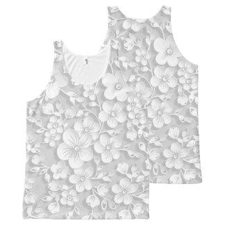 Camiseta De Tirantes Con Estampado Integral Pequeñas flores blancas