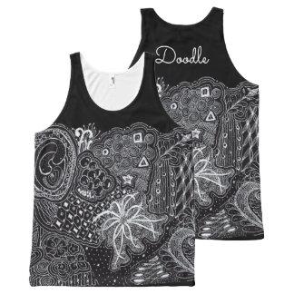 Camiseta De Tirantes Con Estampado Integral Personalice: Arte usable blanco/del negro del
