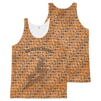 Camiseta De Tirantes Con Estampado Integral Personalice el arte negro/anaranjado el