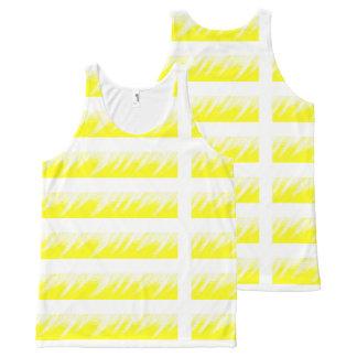 Camiseta De Tirantes Con Estampado Integral Personalizado del blanco del amarillo de las