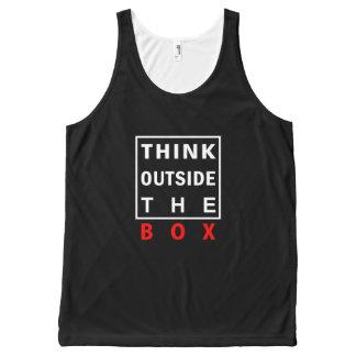 Camiseta De Tirantes Con Estampado Integral piense fuera de la cita elegante roja del texto de