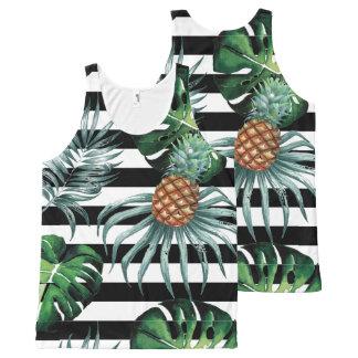 Camiseta De Tirantes Con Estampado Integral Piña tropical de la acuarela con las rayas negras