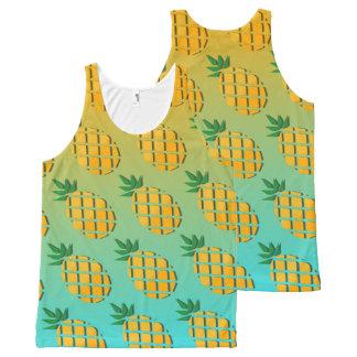 Camiseta De Tirantes Con Estampado Integral Piña tropical del verano por todo el tanque unisex