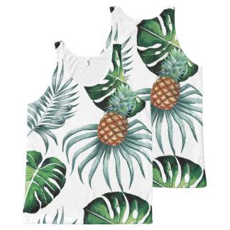 Camiseta De Tirantes Con Estampado Integral Pintura tropical de la piña de la acuarela en