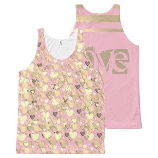 Camiseta De Tirantes Con Estampado Integral Por todo Tanque-Rosado impresa y el oro, amor