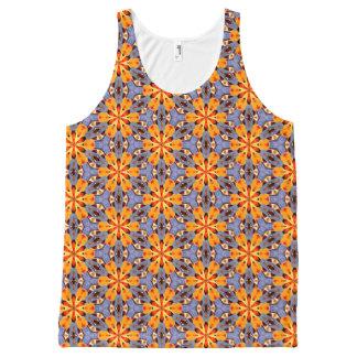 Camiseta De Tirantes Con Estampado Integral Púrpura roja elegante del amarillo anaranjado del