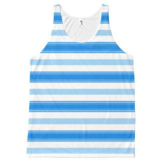 Camiseta De Tirantes Con Estampado Integral Raya azul y blanca