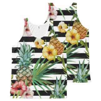Camiseta De Tirantes Con Estampado Integral Rayas negras tropicales de la flor de la piña de