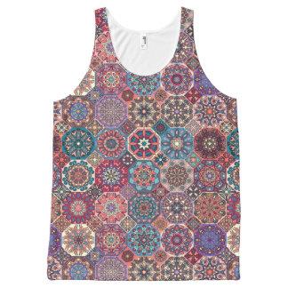 Camiseta De Tirantes Con Estampado Integral Remiendo del vintage con los elementos florales de