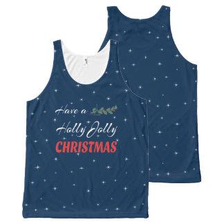 Camiseta De Tirantes Con Estampado Integral Tenga navidad alegre de un acebo