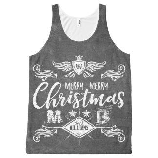 Camiseta De Tirantes Con Estampado Integral Tipografía retra de las Felices Navidad de la
