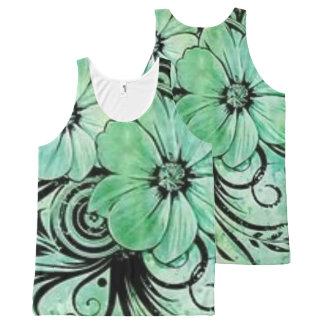Camiseta De Tirantes Con Estampado Integral Verde floral con remolinos