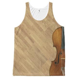 Camiseta De Tirantes Con Estampado Integral Violín de Stradivari en el efecto de madera del
