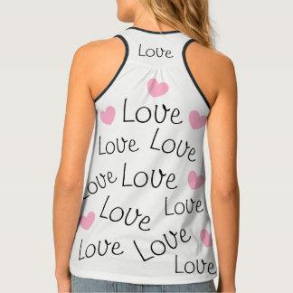 Camiseta De Tirantes Corazones adorables del rosa del modelo de la