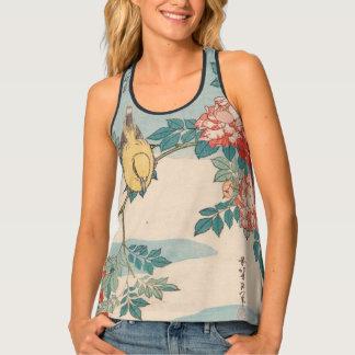 Camiseta De Tirantes Curruca y rosas GalleryHD del vintage de Hokusai