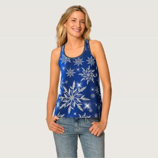 Camiseta De Tirantes Estrellas azules del navidad con el cristal de