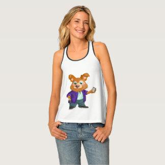 Camiseta De Tirantes Estudiante juguetón adorable del perro del dibujo