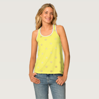 Camiseta De Tirantes falsos lunares elegantes del amarillo del oro