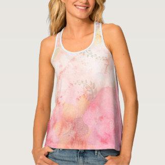 Camiseta De Tirantes Fondo floral rosado de la acuarela