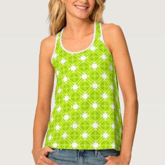 Camiseta De Tirantes Geométrico verde y blanco del kiwi