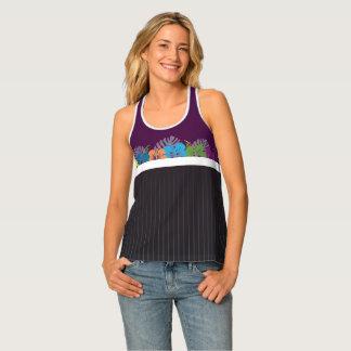 Camiseta De Tirantes Hibisco y telas a rayas