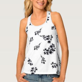 Camiseta De Tirantes Hojas blancos y negros