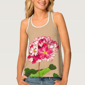 Camiseta De Tirantes Hydrangea del japonés del vintage. Rosa y verde