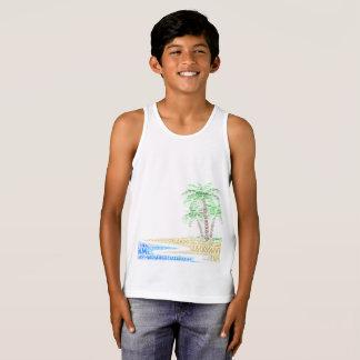 Camiseta De Tirantes Isla tropical ilustrada con las ciudades de la