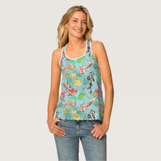 Camiseta De Tirantes Koi pond acuarelas