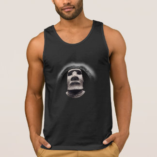 Camiseta De Tirantes Logotipo negro de descoloramiento de Tiki Moai de