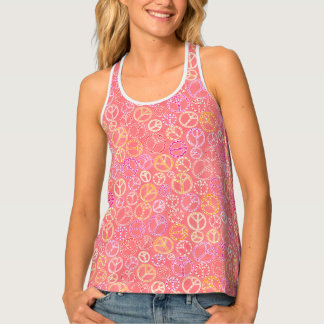 Camiseta De Tirantes Los signos de la paz modelan en rosa