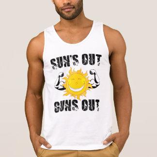 Camiseta De Tirantes Los soles hacia fuera disparan contra hacia fuera