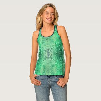 Camiseta De Tirantes Malaquita abstracta del verde del tono de la joya