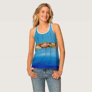 Camiseta De Tirantes Mar abstracto con los barcos azules y el top