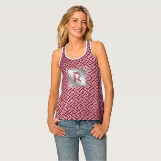 Camiseta De Tirantes Modelo que entrelaza de plata del rojo de vino del