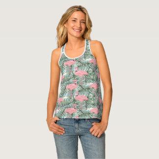 Camiseta De Tirantes Modelo rosado lindo de las hojas de palma de los