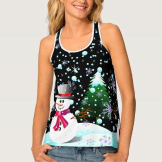"""Camiseta De Tirantes Muñeco de nieve """"Felices Navidad"""" personalizadas"""