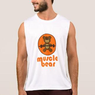 Camiseta De Tirantes Naranja del oso de peluche del oso del músculo