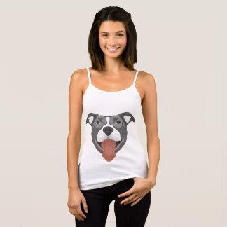 Camiseta De Tirantes Perro Pitbull sonriente del ilustracion