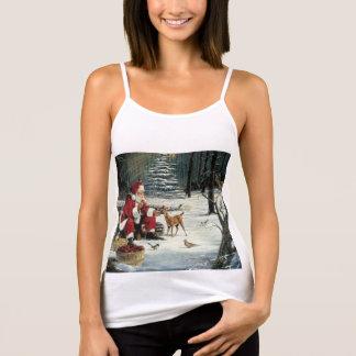 Camiseta De Tirantes Pintura de Papá Noel - arte del navidad