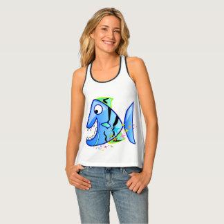 Camiseta De Tirantes Piraña tropical azul con las estrellas