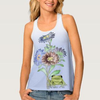 Camiseta De Tirantes Rana y flores musicales de Hip Hop