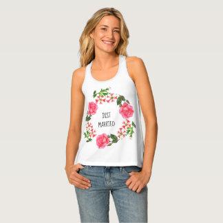 Camiseta De Tirantes Rayas florales botánicas color de rosa rosadas de