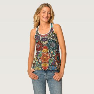 Camiseta De Tirantes Remiendo del vintage con los elementos florales de