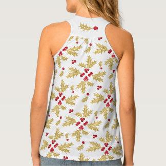 Camiseta De Tirantes Rojo y bayas y hojas del acebo del oro en acuarela