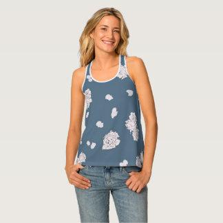 Camiseta De Tirantes Rosas azules y blancos